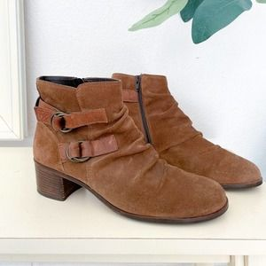 Paul Green Chocolate Brown Suede Buckle Booties